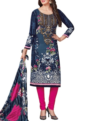 Printed unstitched combo suit - 15400929 - Standard Image - 2