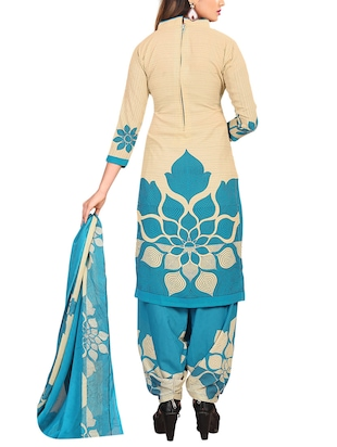 Printed unstitched combo suit - 15400929 - Standard Image - 5
