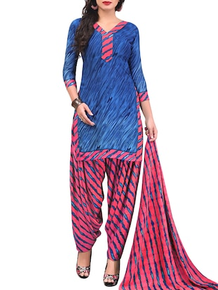 Printed unstitched combo suit - 15400954 - Standard Image - 2