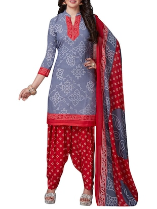 Printed unstitched combo suit - 15401084 - Standard Image - 2