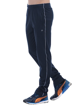 blue cotton full length track pant - 15406489 - Standard Image - 2