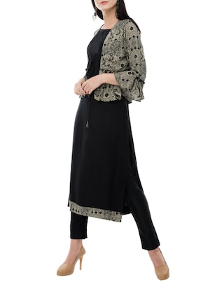 straight kurta with jacket - 15410268 - Standard Image - 2