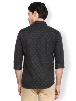 black cotton casual shirt - 15410571 - Standard Image - 2