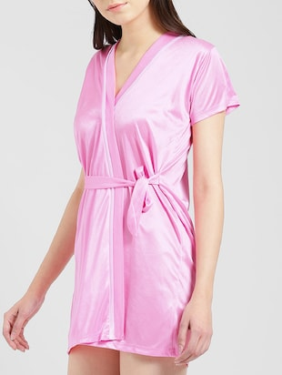 Side tie up sleepwear robe - 15410808 - Standard Image - 2