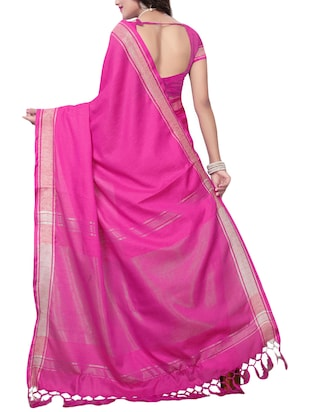 Linen maheshwari saree with blouse - 15410849 - Standard Image - 2