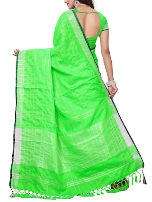 Linen Checkered woven saree with blouse - 15410852 - Standard Image - 2