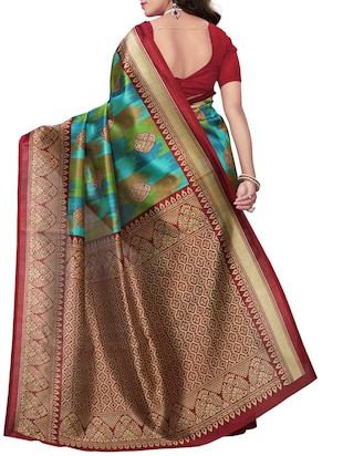 Contrast bordered printed saree with blouse - 15410883 - Standard Image - 2