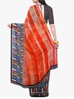 geometrical printed georgette saree with blouse - 15411026 - Standard Image - 2