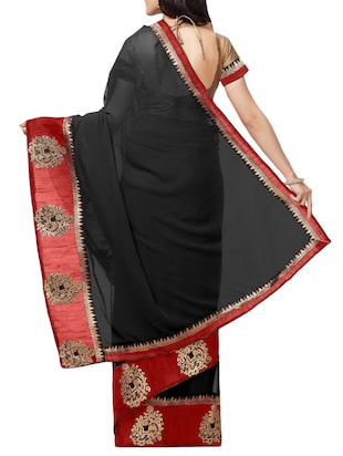 embroidered lace border saree with blouse - 15411067 - Standard Image - 2