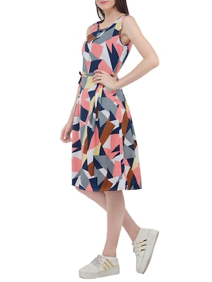 Geometric fit and flare belted dress - 15411128 - Standard Image - 2