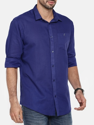 dark blue cotton linen casual shirt - 15411216 - Standard Image - 2