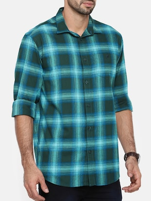 green cotton casual shirt - 15411218 - Standard Image - 2