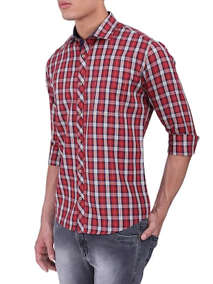 red cotton casual shirt - 15411403 - Standard Image - 2