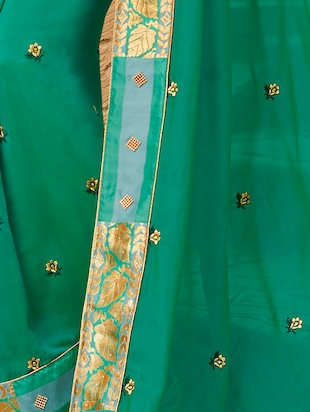 Delicate golden embroidered saree with blouse - 15411730 - Standard Image - 2