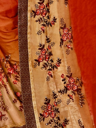 Floral Embroidered bordered saree with blouse - 15411750 - Standard Image - 2