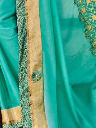 Embroidered bordered saree with blouse - 15411755 - Standard Image - 2