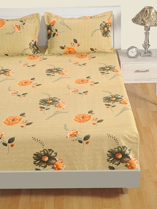 180 TC Floral Print Cotton Single Bed Sheet with 1 Pillow Cover - 15411869 - Standard Image - 2
