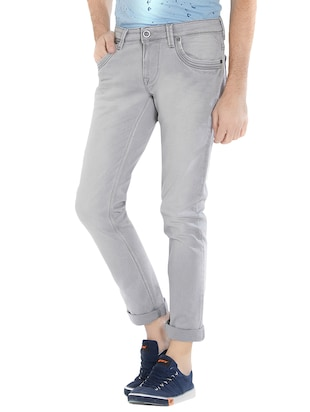 grey cotton washed jeans - 15412043 - Standard Image - 2