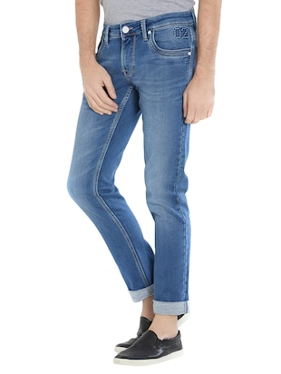 blue cotton washed jeans - 15412044 - Standard Image - 2