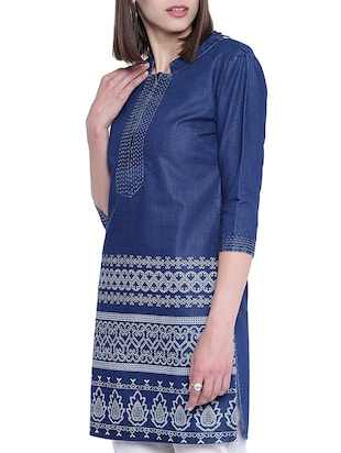 denim straight kurta - 15412238 - Standard Image - 2