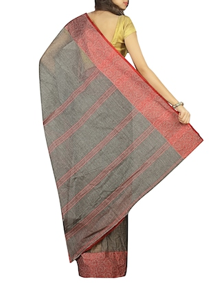 contrast jacquard border tant saree with blouse - 15412335 - Standard Image - 2