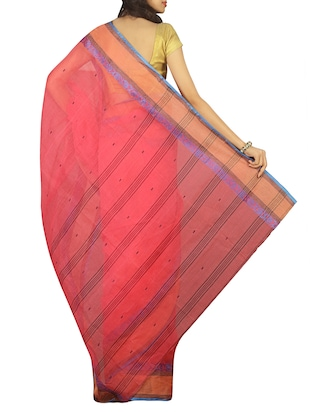 contrast jacquard border tant saree with blouse - 15412337 - Standard Image - 2