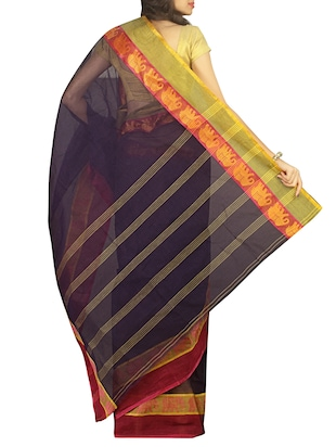 contrast jacquard border tant saree with blouse - 15412338 - Standard Image - 2