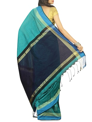 contrast pallu cotton tant saree with blouse - 15412404 - Standard Image - 2