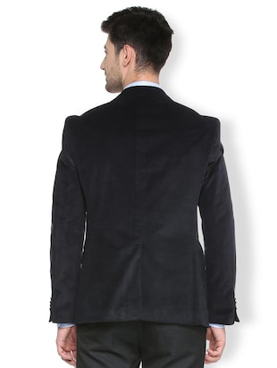 black cotton blend single breasted blazer - 15412820 - Standard Image - 2