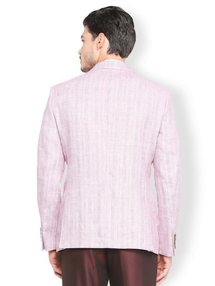 red linen single breasted blazer - 15412823 - Standard Image - 2