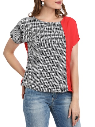 Printed round neck top - 15412848 - Standard Image - 2