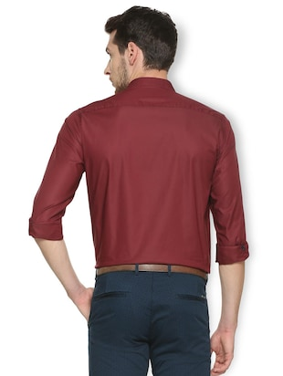 maroon cotton blend formal shirt - 15413115 - Standard Image - 2