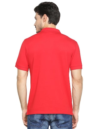red cotton blend polo t-shirt - 15413146 - Standard Image - 2
