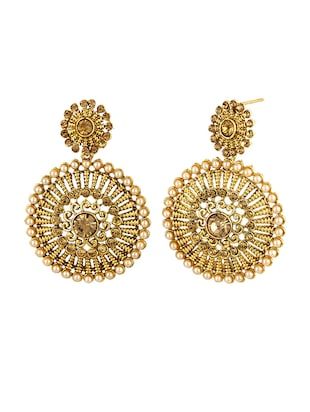 gold zinc drop earrings - 15413219 - Standard Image - 2
