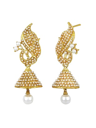 Gold Tone Pearl Inspired Earrings - 15413301 - Standard Image - 2