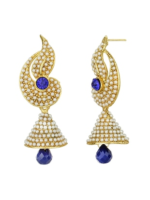 Blue Gold Tone Pearl Inspired Earrings - 15413302 - Standard Image - 2
