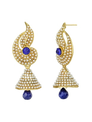 Blue Gold Tone Pearl Inspired Earrings - 15413303 - Standard Image - 2