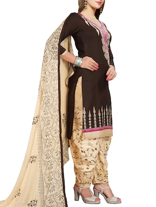 Embroidered semi-stitched salwar suit - 15413352 - Standard Image - 2