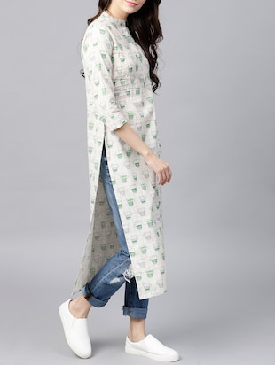 Pintucks straight quirky kurta - 15413452 - Standard Image - 2