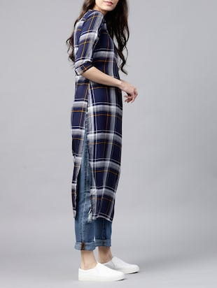 straight checkered kurta - 15413473 - Standard Image - 2