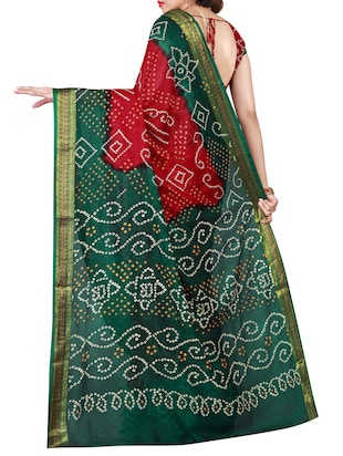 Delicate Golden  bordered bandhani saree with blouse - 15413700 - Standard Image - 2
