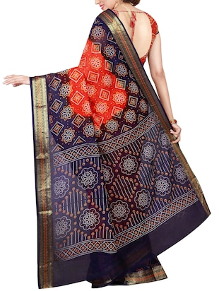 Delicate Golden bordered bandhani saree with blouse - 15413716 - Standard Image - 2