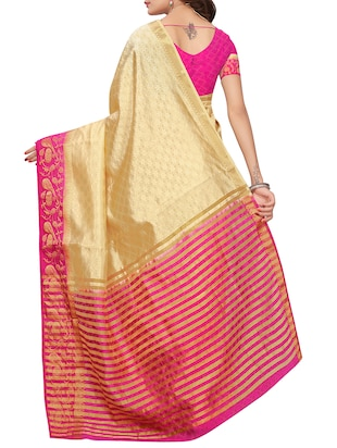 Contrast bordered tussar silk saree with blouse - 15413838 - Standard Image - 2