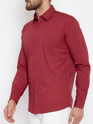 red cotton casual shirt - 15414002 - Standard Image - 2