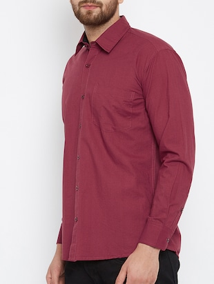 red cotton casual shirt - 15414010 - Standard Image - 2