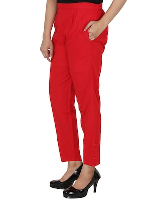 button detail pleated trouser - 15414327 - Standard Image - 2