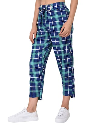 Checkered high-rise trouser - 15414329 - Standard Image - 2