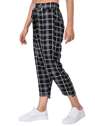 Checkered high-rise trouser - 15414330 - Standard Image - 2