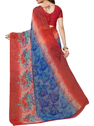 Contrast bordered printed saree with blouse - 15414359 - Standard Image - 2