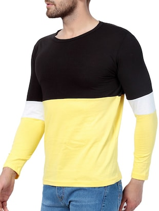 yellow cotton color block t-shirt - 15414436 - Standard Image - 2